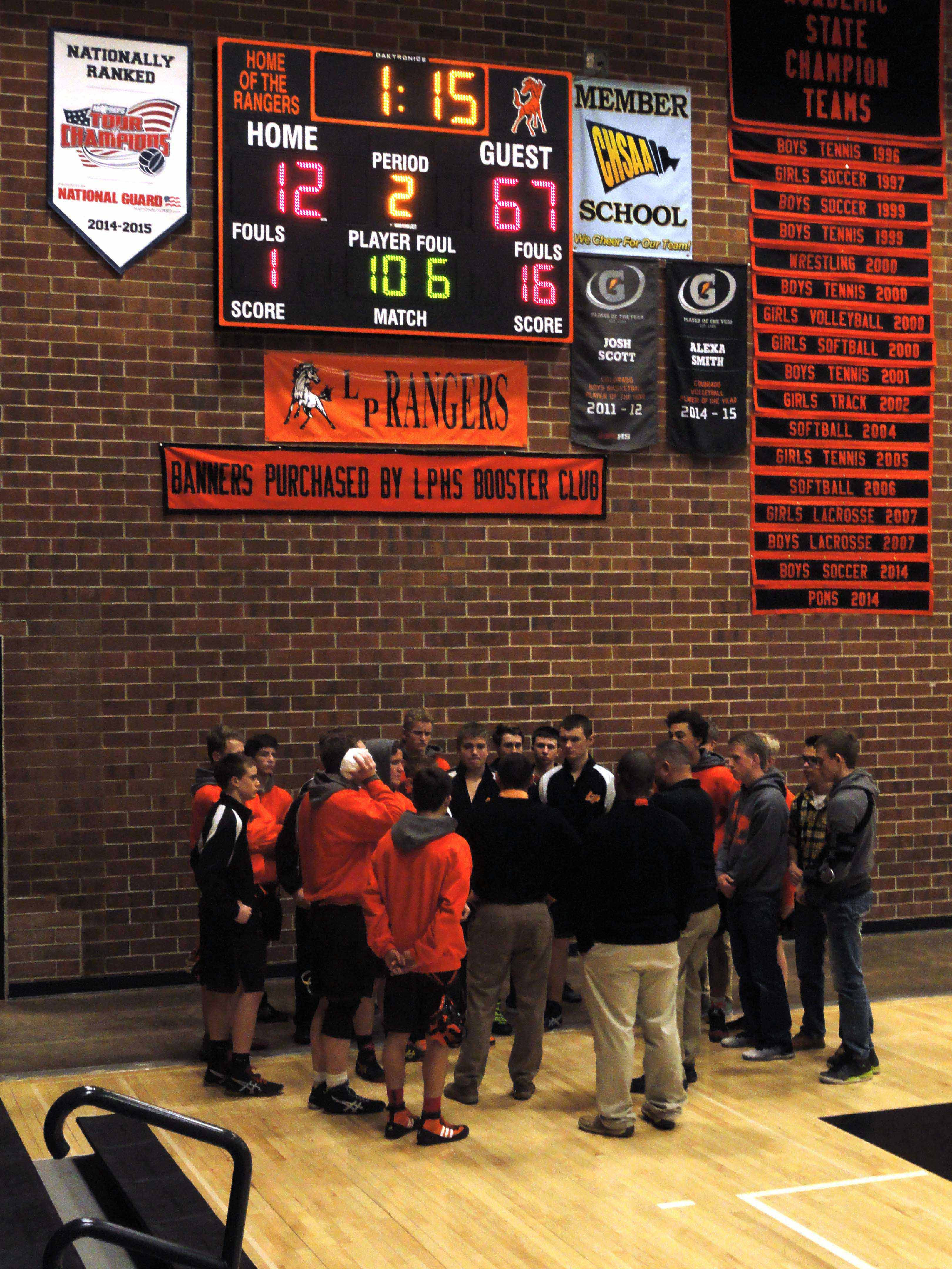 The team reconvenes under the scoreboard of Wednesday's duel