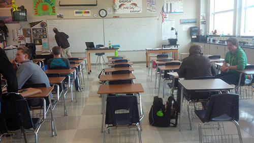 Classrooms are nearly empty due to the senior absences.