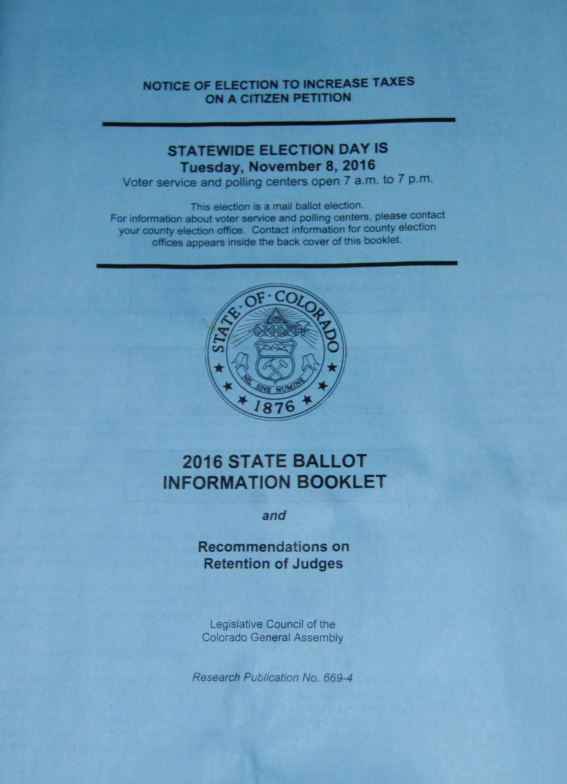 Voters can access information about the amendments and propositions in the 2016 State Ballet of Colorado.