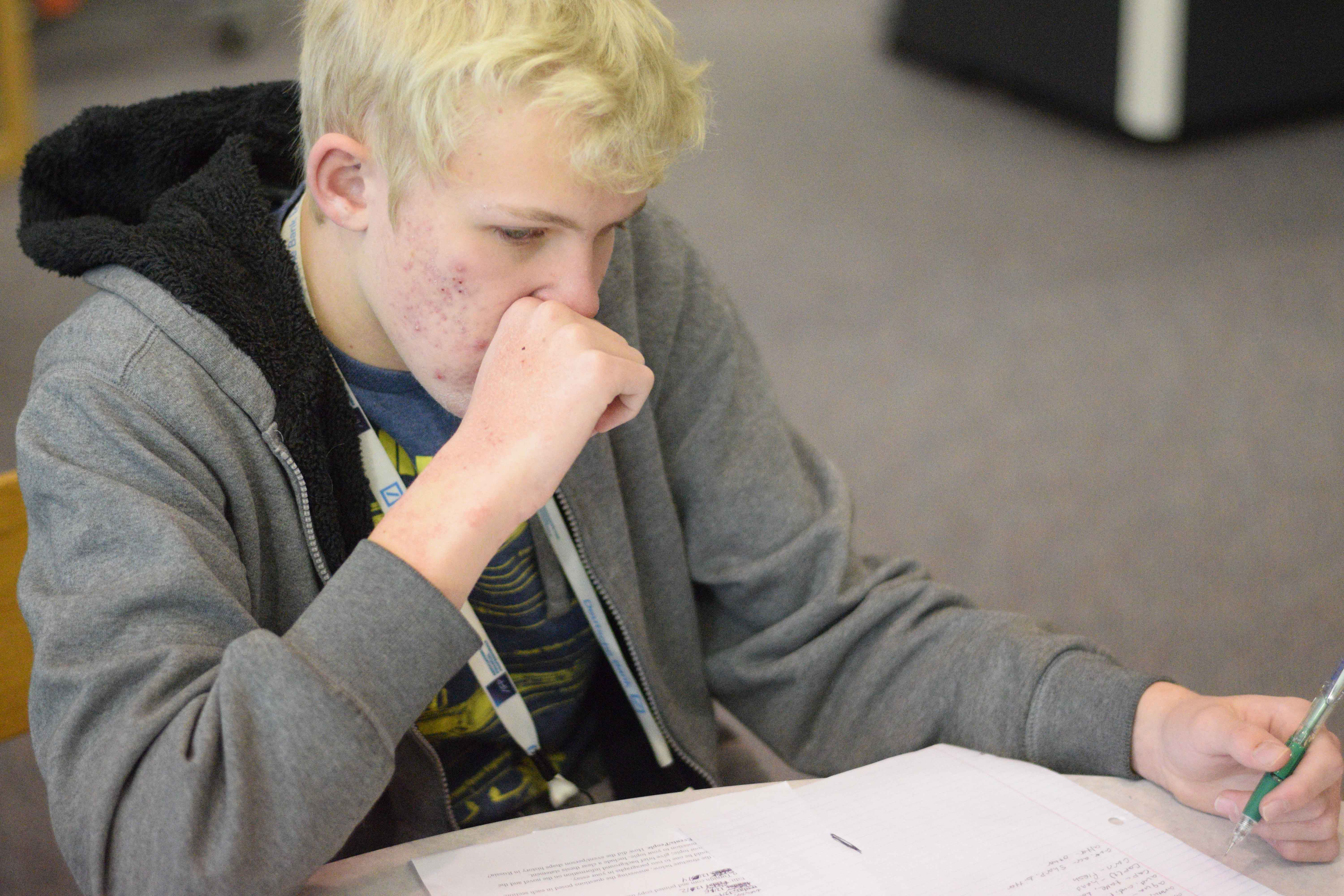 LPHS freshman Mack Walker studying for an upcoming test in his English class.