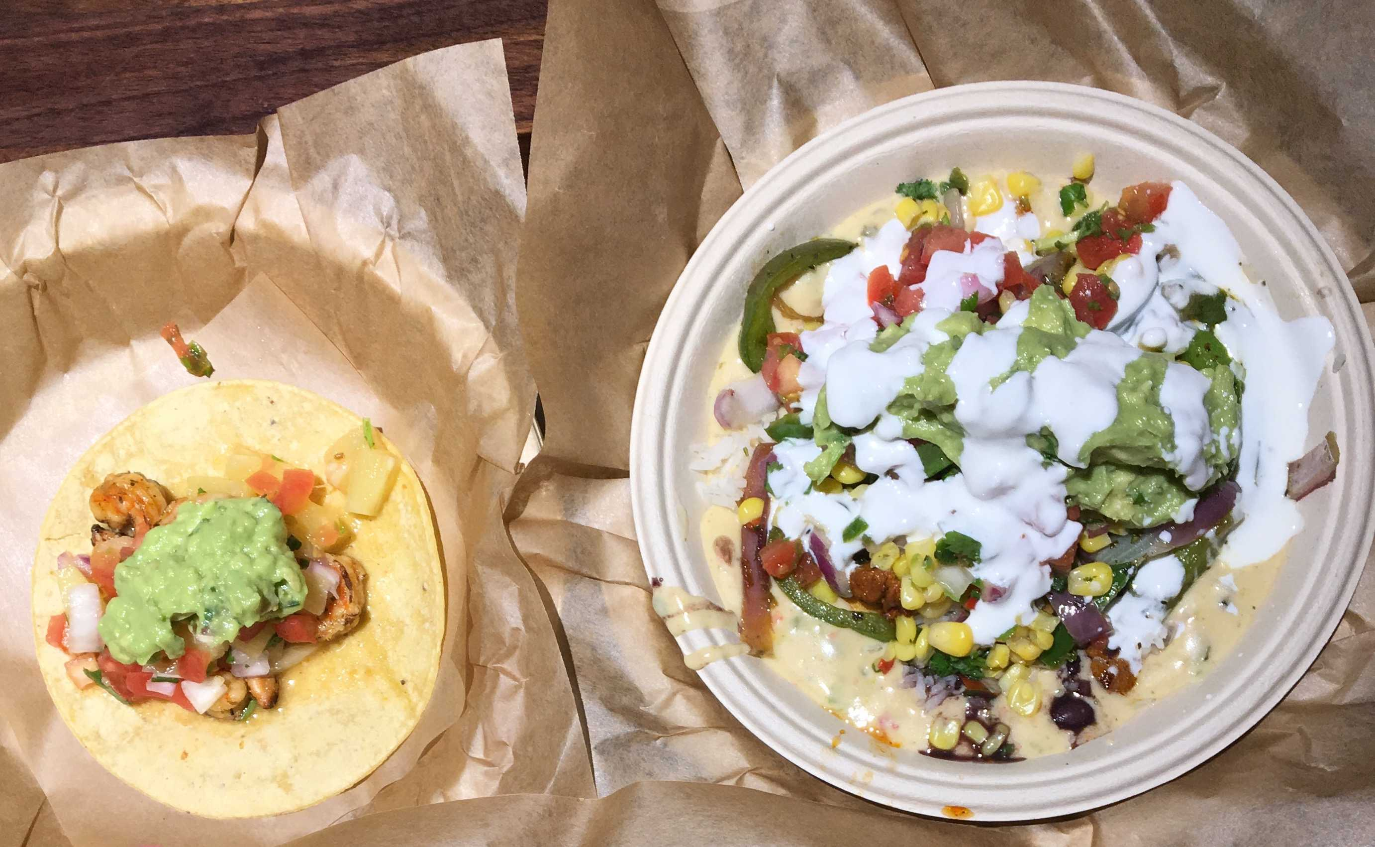 Here are Qdoba's tacos and nachos, both of which are very appetizing.
