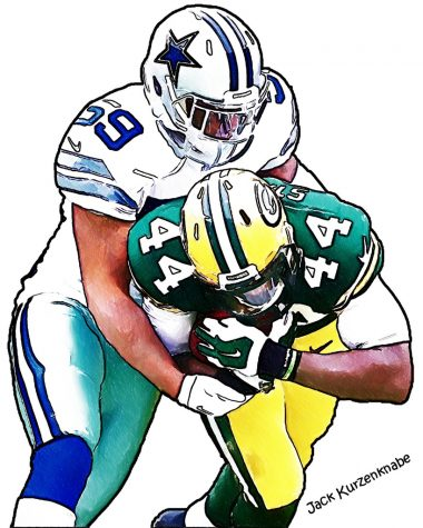 Packers vs Cowboys cartoon. Creative Commons, credited to Jack Kurzenknabe