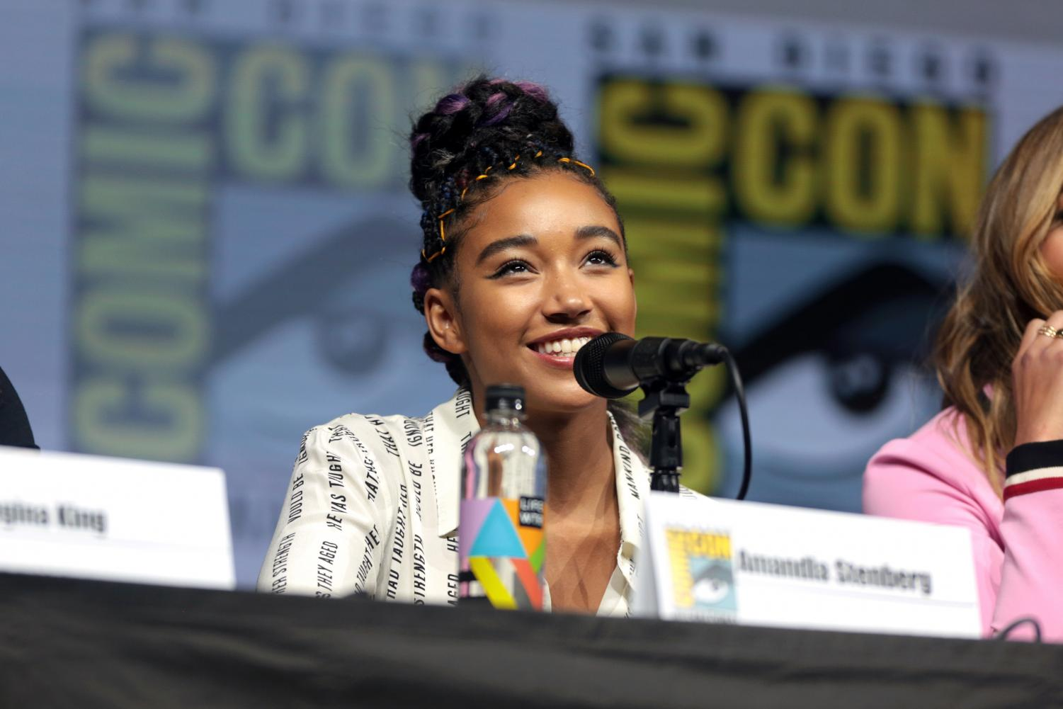 "Amandla Stenberg, playing the role of Starr Carter in the 2018 film The Hate U Give, speaks at the San Diego Comic Con for Entertainment Weekly's ""Women Who Kick Ass.""  ""Every single day was just so beautiful, I was really moved by how everyone that was a part of this project really showed up with their intentions in the right place and showed up because they wanted to tell the truth and speak for those who can't,"" Stenberg said."