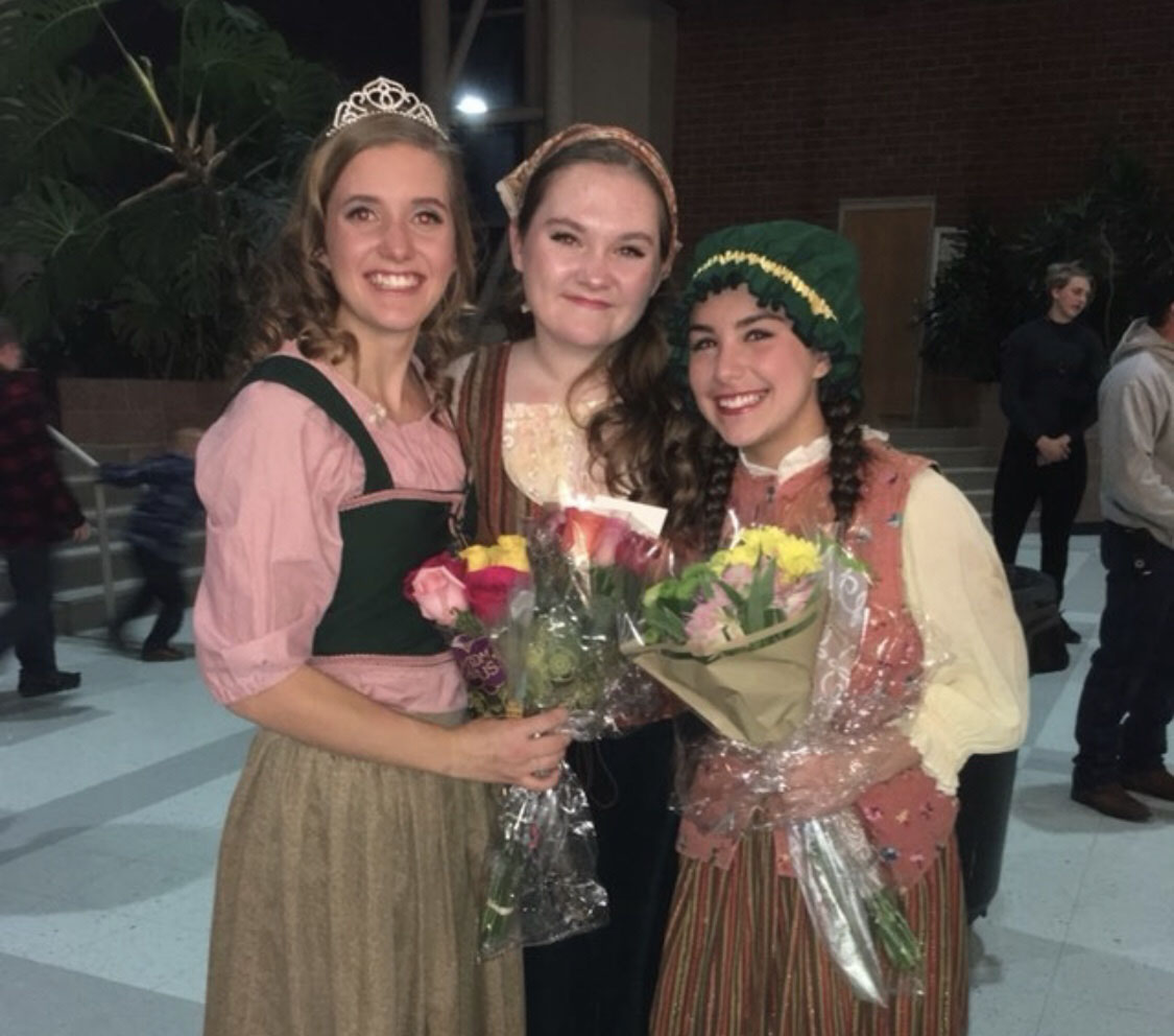 "Ella McRae, on the right, with her friends Jamie McPartland, in the middle, and Kayli Ecklund, on the left, after the musical Beauty and the Beast. ""I love the joy that music brings our lives,"" McRae said."