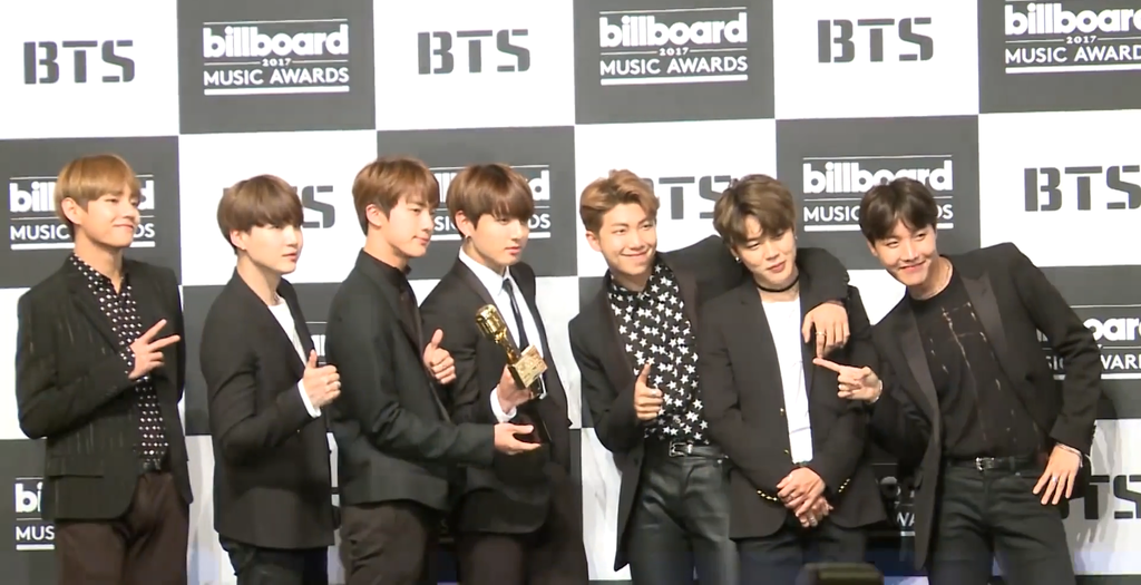 BTS on the red carpet of the 2017 Billboard Music Awards. They won the Top Social Artist Award of the year.