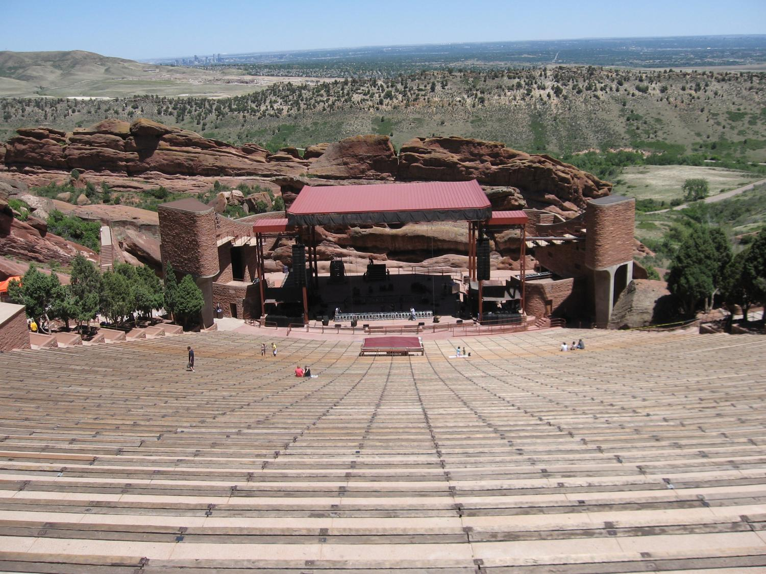 A view from the benches at Red Rocks looking down on the iconic stage, in the summer.
