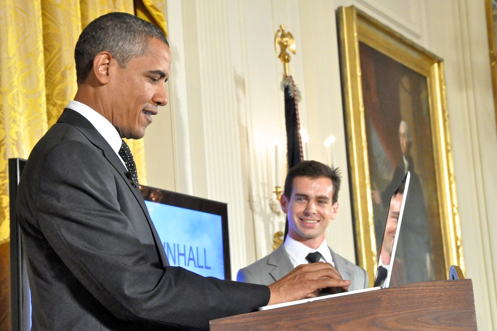 Jack Dorsey watches as former president Barack Obama as he makes his first Presidential Tweet. Taken July 6th, 2011.