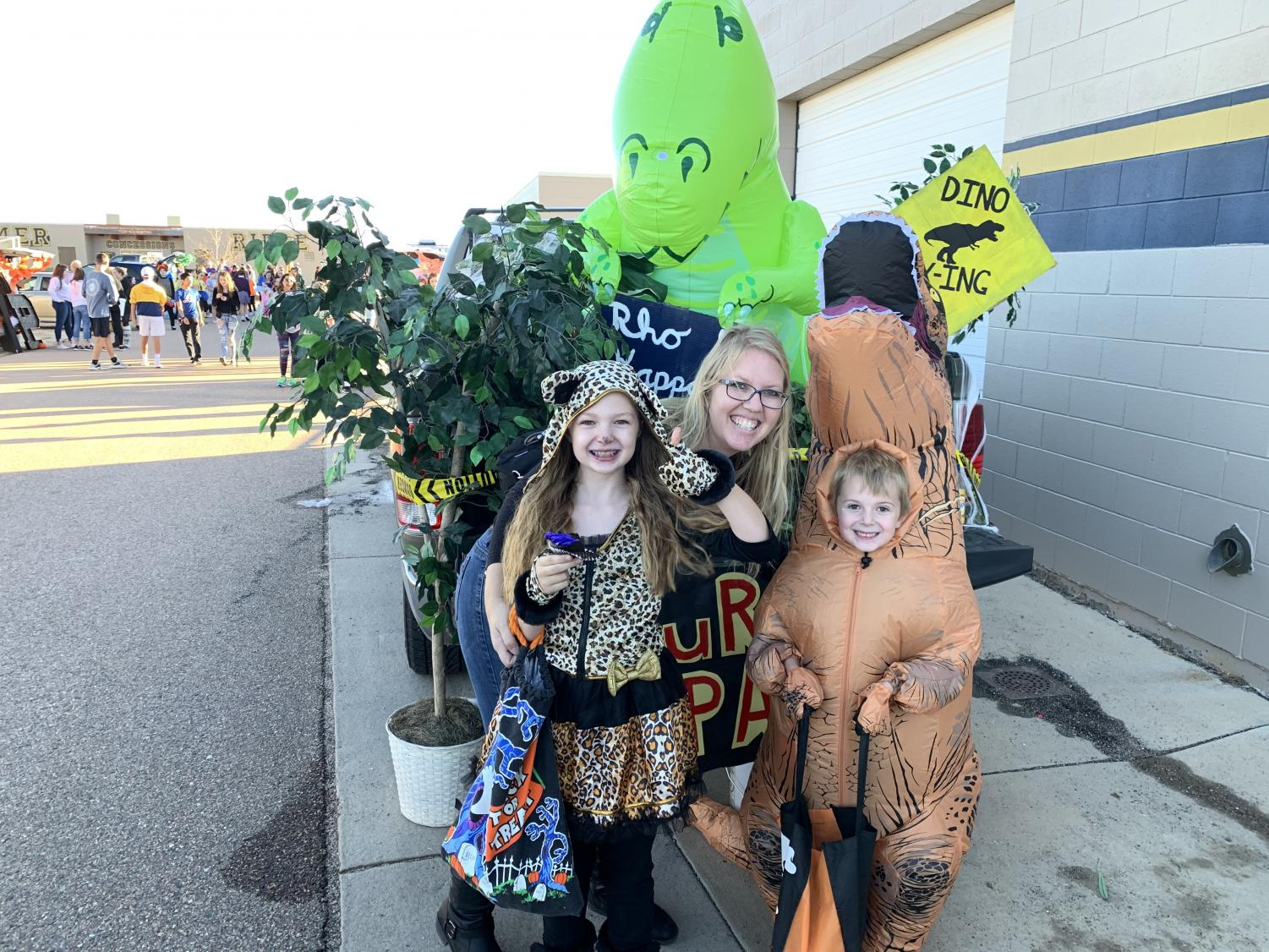 Photo taken in front of Rho Kappa  trunk or treat set up