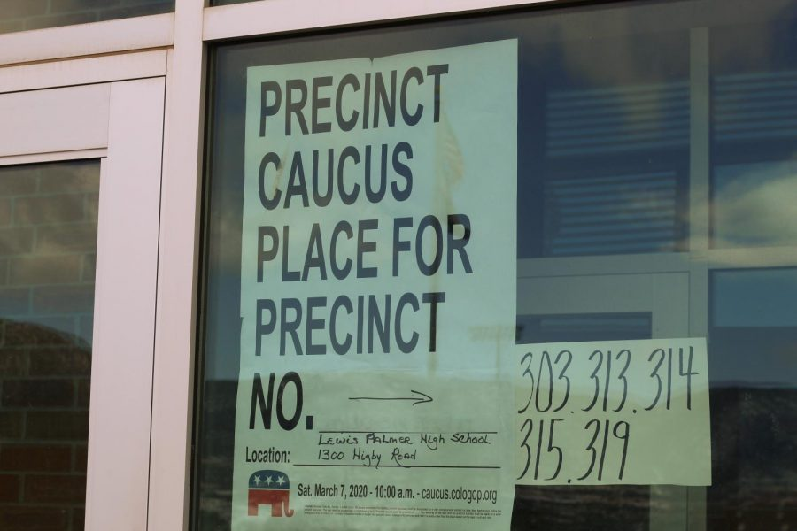 A+sign+was+posted+outside+of+Lewis-Palmer+High+School+to+inform+the+community+of+precinct+caucuses.+Republican+Senate+Caucuses+will+be+held+at+there+on+March+7th+at+10%3A00+a.m.