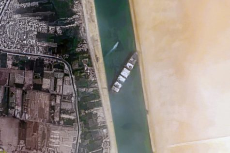 Overhead view of the Suez Canal blockage. 25 March 2021, 15:35. Container Ship