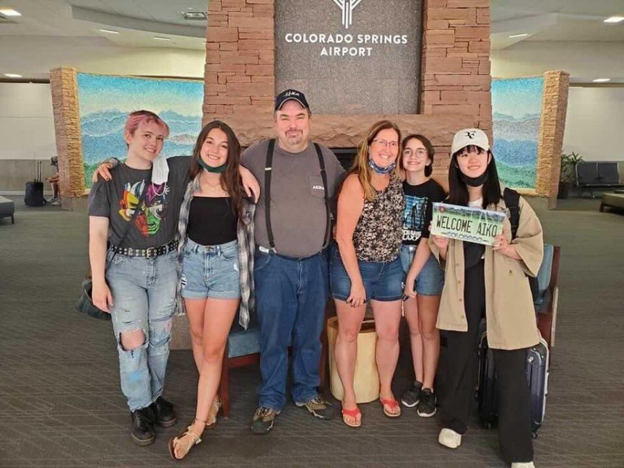 Aiko Hayashi and her host family at the Colorado Springs airport shortly after her arrival.