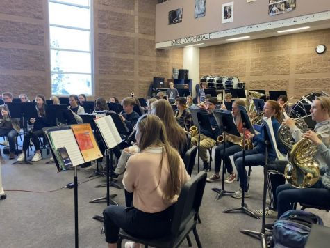 """The wind symphony band practices. """"Band has been going really well this year,"""" said Hall, who plays the alto saxophone."""