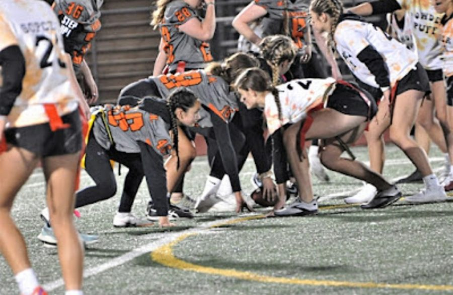 The face off between the juniors and seniors during the game.